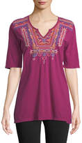 Johnny Was Annika Embroidered Short-Sleeve Tunic
