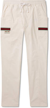Gucci Webbing-Trimmed Cotton-Canvas Trousers