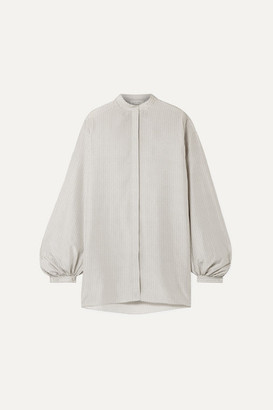 The Row Vara Oversized Printed Silk Crepe De Chine Blouse - Off-white