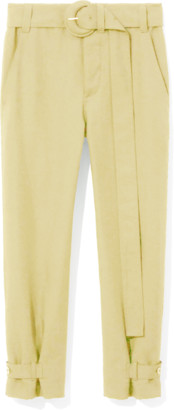Proenza Schouler Rumpled Pique Belted Pant in Flax
