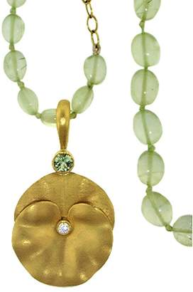 Cathy Waterman Green Sapphire Forest Pansy Charm - Yellow Gold