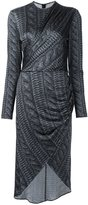 Christian Siriano cable knit print wrap dress