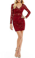 B. Darlin Long Sleeve Sequin Lace Sheath Dress