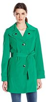 Calvin Klein Women's Single Breasted Double Collar Trench Coat