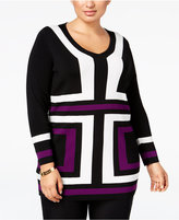 INC International Concepts Plus Size Jacquard-Knit Tunic Sweater, Only at Macy's