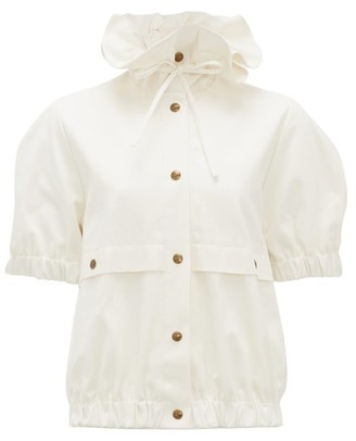 Symonds Pearmain - Ruffle-neck Cotton-gabardine Short-sleeved Jacket - White