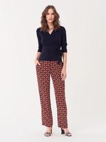 Diane von Furstenberg Aida Ribbed Cotton-Cashmere Wrap Top
