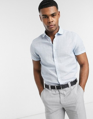 Asos DESIGN regular fit linen shirt with penny collar in blue with short sleeve