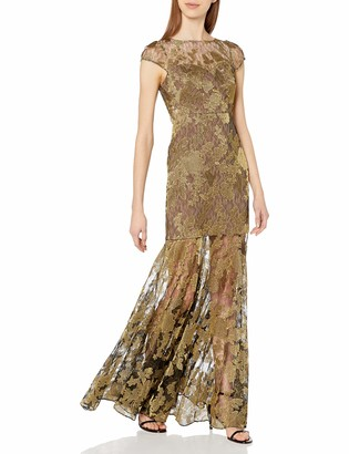 Halston Women's Metallic Embroidered Lace Gown