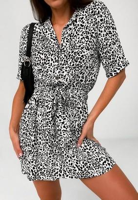 Missguided Dalmatian Print Tie Waist Shirt Dress