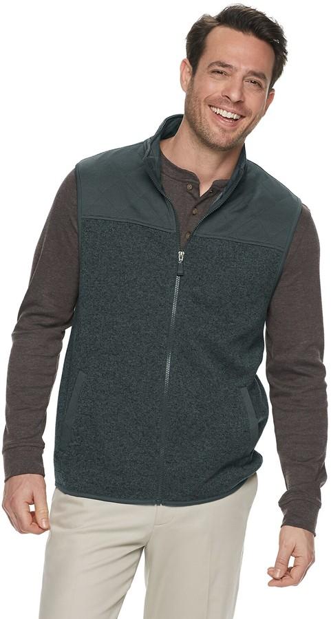 Haggar Mens Exploded Argyle Button-Front Vest