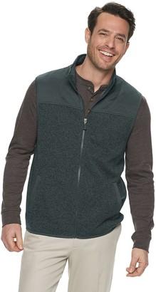 Haggar Men's Quilted Sweater Fleece Vest