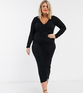 Asos DESIGN Curve long sleeve ruched midi dress in black