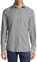Ralph Lauren Striped Twill Cotton Shirt, Gray/White