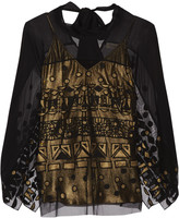 Temperley London Sura embroidered tulle and silk-blend chiffon top