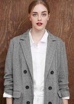 Violeta BY MANGO Herringbone Pattern Cotton-Blend Coat
