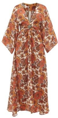 Dodo Bar Or Shelly Cut-out Floral-print Dress - Womens - Brown Print