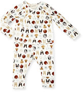 Gucci Dog-Print Cotton Pajama Set, White, Size 3-24 Months