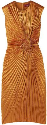 Sies Marjan Nicole Pleated Satin Midi Dress