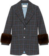 Gucci Check hearts wool jacket with fur