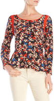 Tracy Reese Floral Silk Flounce Top