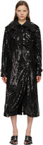 Thumbnail for your product : Junya Watanabe Black Sequin Organdy Double-Breasted Trench Coat