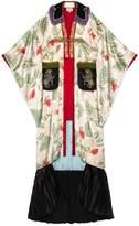 Gucci Embroidered Tiger print silk kimono