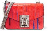 Proenza Schouler Hava Paneled Printed Ayers And Elaphe Shoulder Bag - Tomato red