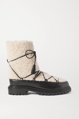 Aquazzura Very Aspen Shearling And Leather Ankle Boots - White