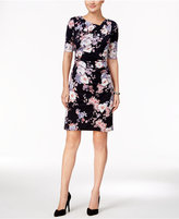 Connected Petite Floral Draped Sheath Dress