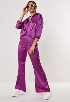Missguided Petite Purple Co Ord High Waisted Flared Trousers