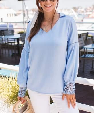 Amaryllis Women's Blouses Blue - Blue Lace-Cuff Collar-Accent V-Neck Top - Women & Plus