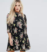 Asos High Neck Pleated Mini Floral Dress
