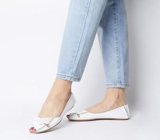 Office Felt Peep Toe Shoes White Leather