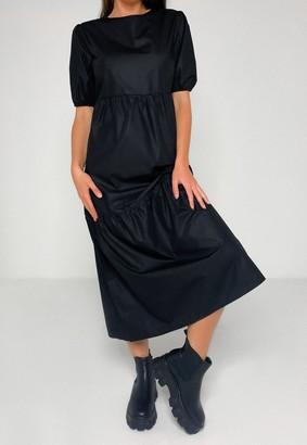 Missguided Black Poplin Oversized Tiered Smock Midi Dress