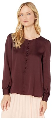 Vince Camuto Long Sleeve Puff Shoulder Hammer Satin Button Down Blouse