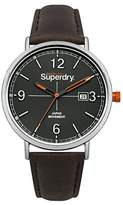 Superdry 'Oxford Field' Quartz Silver-Tone and Leather Casual Watch, Color:Brown (Model: SYG190BR)