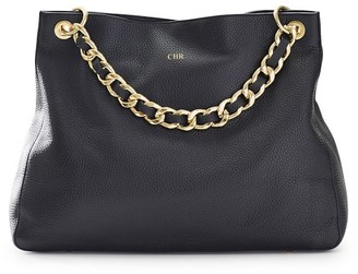 Black Handbag with Black Leather Chain Shoulder Strap Set