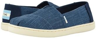 TOMS Kids Alpargata (Little Kid/Big Kid) (Majolica Blue Crosshatch Linen) Boy's Shoes