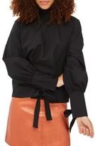 Topshop Women's High Neck Tie Sleeve Blouse