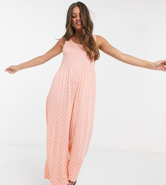 ASOS DESIGN petite scoop-neck smock jumpsuit in spot print