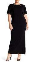 ABS by Allen Schwartz Embellished Neck Cape Gown (Plus Size)