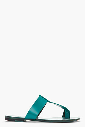 Jil Sander Teal Leather T-Strap Flat Sandals