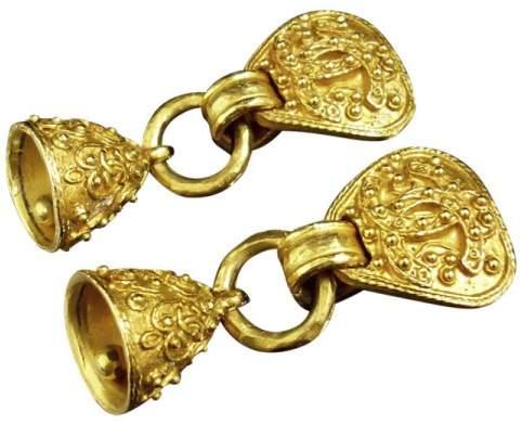 Chanel Gold-Tone Coco Mark CC Logo Clip-On Heart Bell Motif Earrings