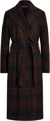 Ralph Lauren Tyson Plaid Lambswool-Cashmere Wrap Coat