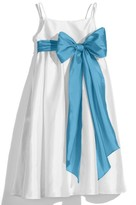 Us Angels Girl's White Sleeveless Empire Waist Taffeta Dress