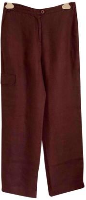 Malo Burgundy Linen Trousers for Women