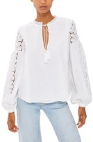 Topshop Women's Lace Sleeve Poet Blouse