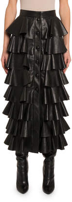 Saint Laurent Ruffle-Tiered Leather Button-Front Skirt