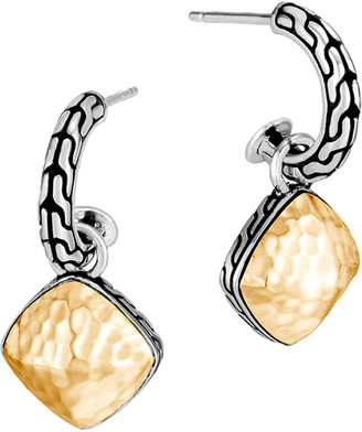 John Hardy Classic Chain Hammered Hoop-Drop Earrings w/ 18k Gold